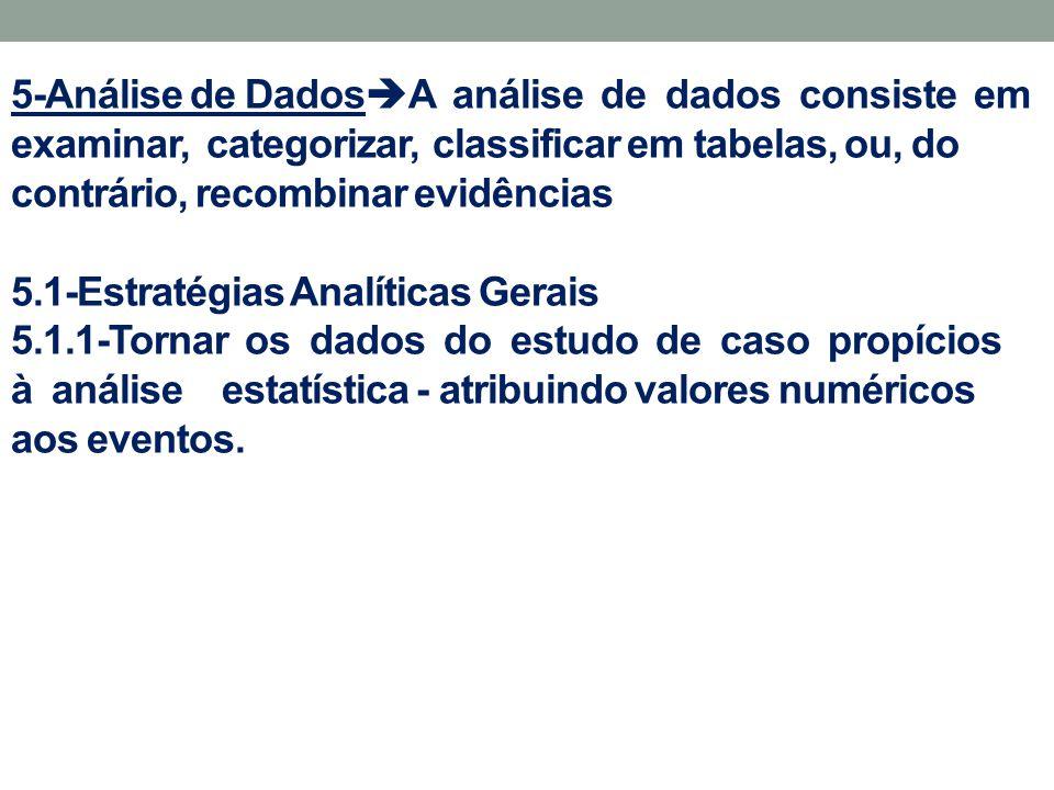 5-Análise de DadosA análise de dados consiste em examinar, categorizar, classificar em tabelas, ou, do contrário, recombinar evidências