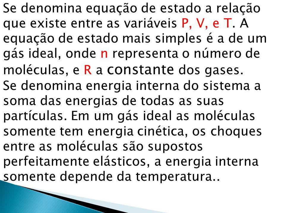Se denomina equação de estado a relação que existe entre as variáveis P, V, e T. A equação de estado mais simples é a de um gás ideal, onde n representa o número de moléculas, e R a constante dos gases.