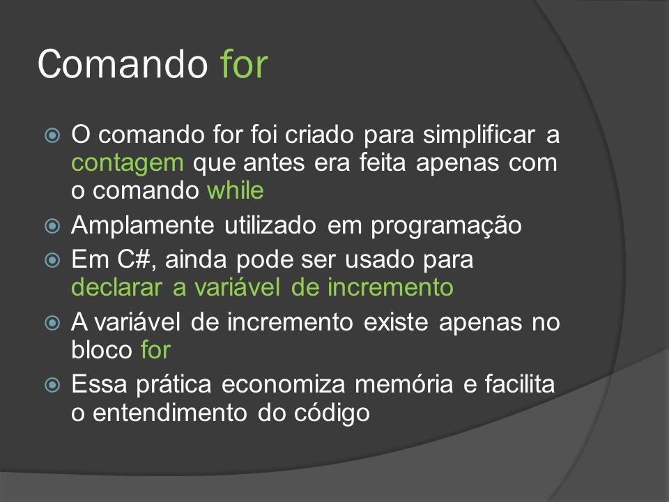 Comando for O comando for foi criado para simplificar a contagem que antes era feita apenas com o comando while.