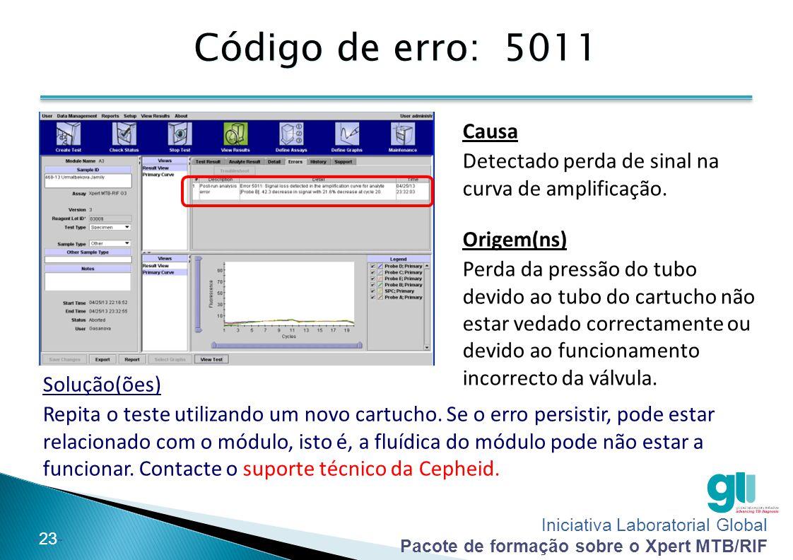 Código de erro: 5011 Causa. Detectado perda de sinal na curva de amplificação. Origem(ns)