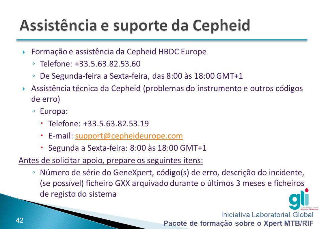 Assistência e suporte da Cepheid