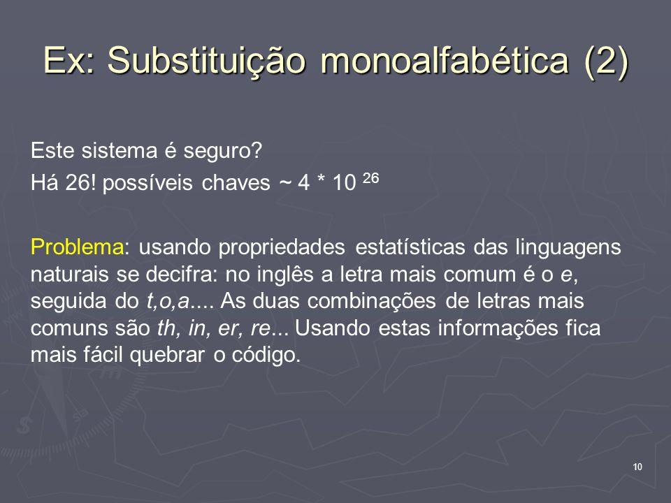 Ex: Substituição monoalfabética (2)