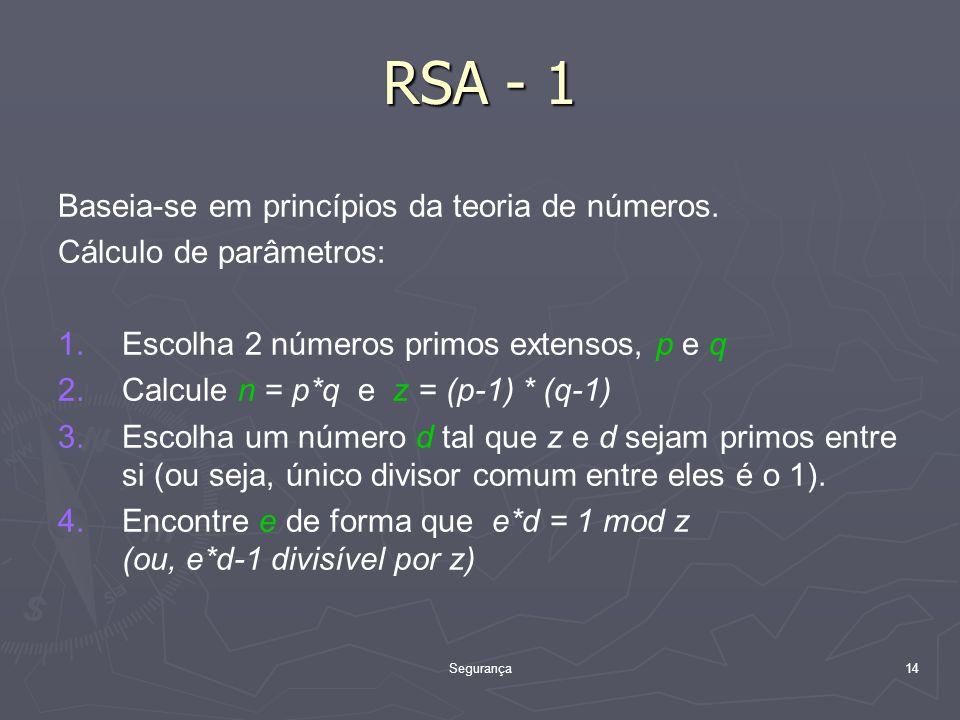 RSA - 1 Baseia-se em princípios da teoria de números.