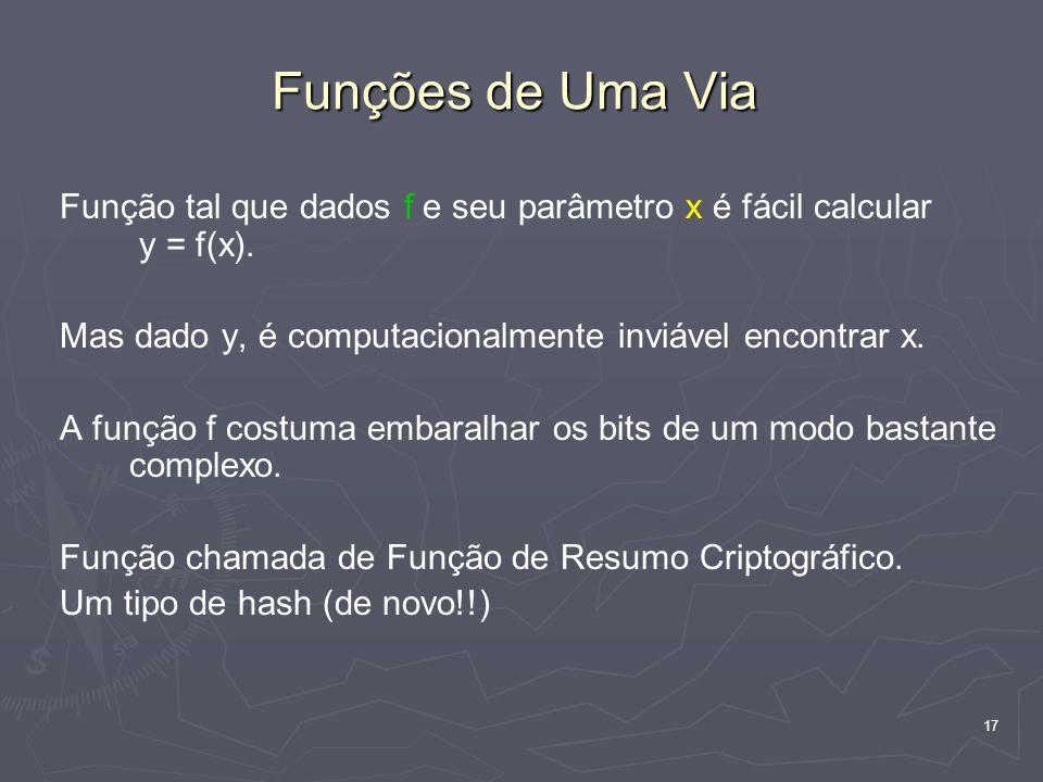 Funções de Uma Via Função tal que dados f e seu parâmetro x é fácil calcular y = f(x). Mas dado y, é computacionalmente inviável encontrar x.