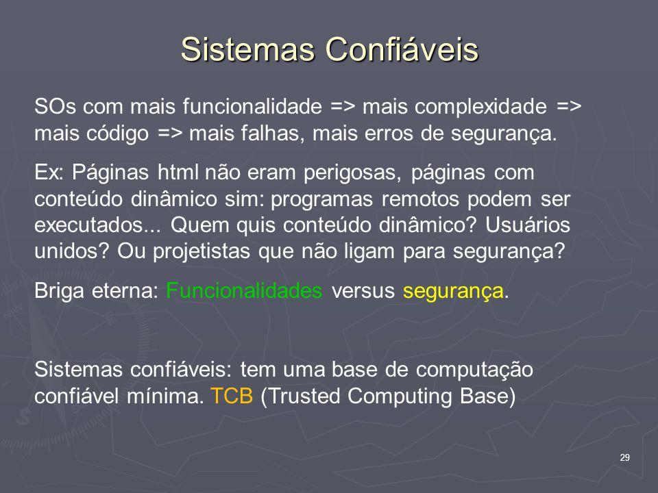 Sistemas Confiáveis SOs com mais funcionalidade => mais complexidade => mais código => mais falhas, mais erros de segurança.