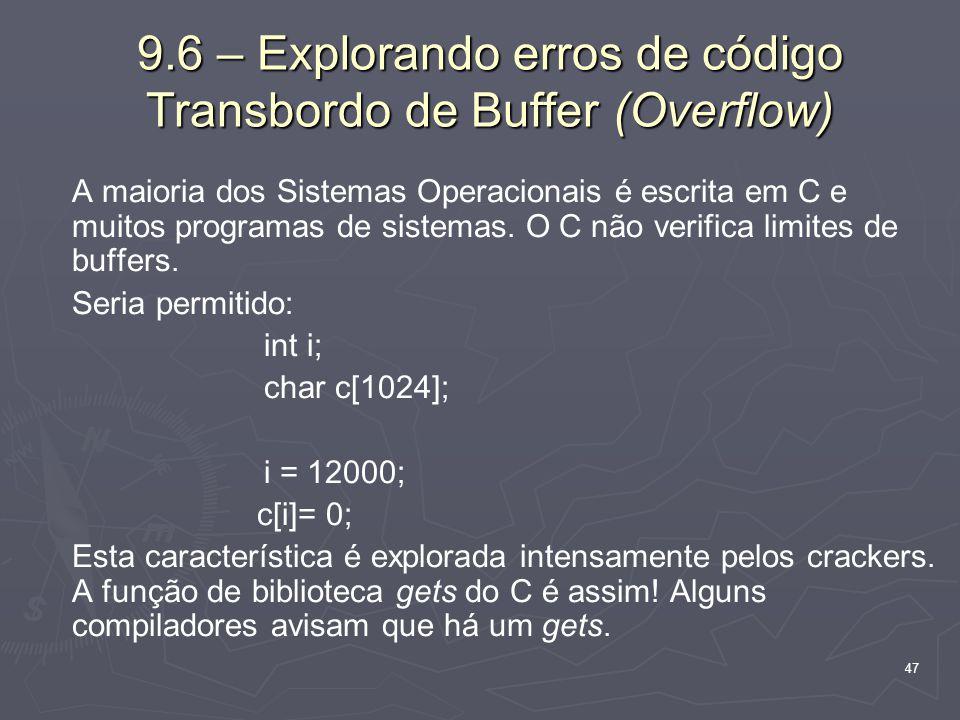 9.6 – Explorando erros de código Transbordo de Buffer (Overflow)