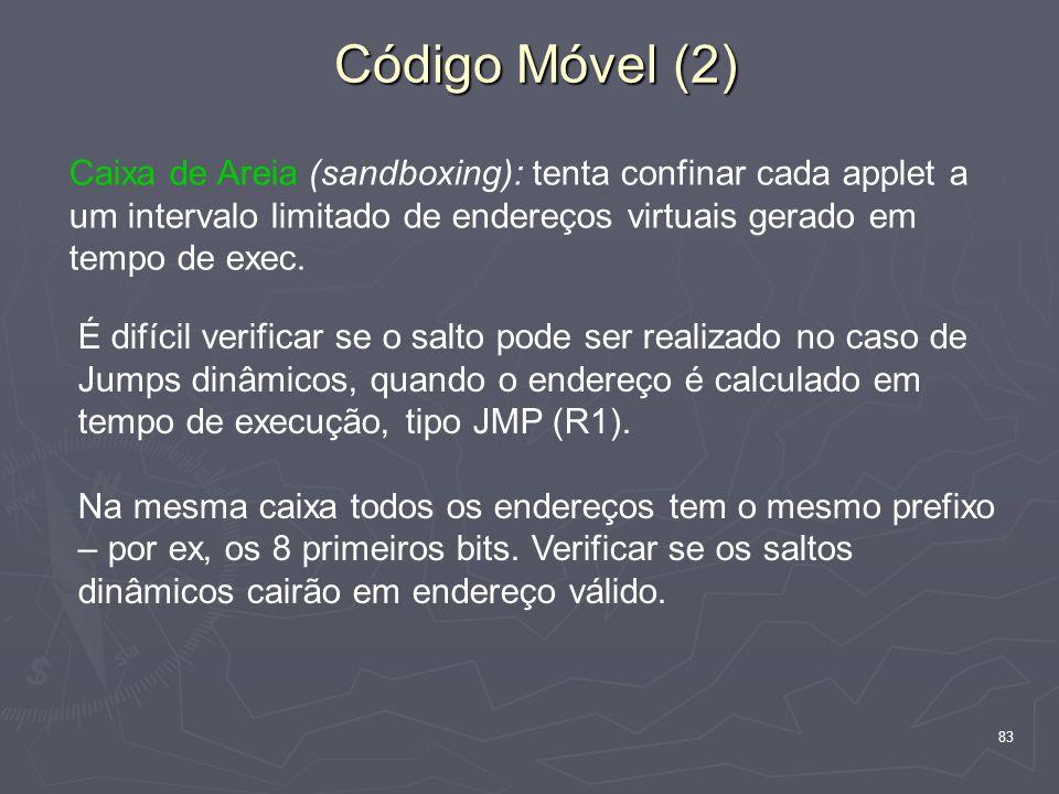 Código Móvel (2) Caixa de Areia (sandboxing): tenta confinar cada applet a um intervalo limitado de endereços virtuais gerado em tempo de exec.
