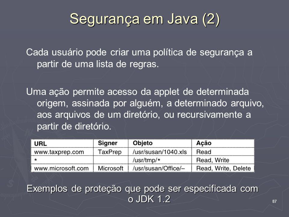 Exemplos de proteção que pode ser especificada com o JDK 1.2