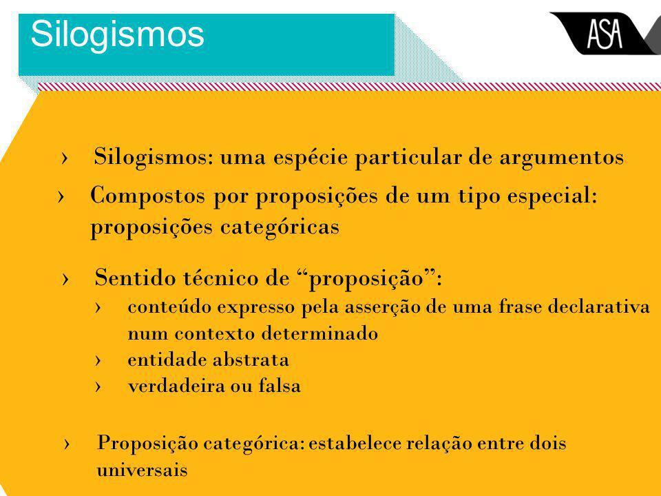 Silogismos Silogismos: uma espécie particular de argumentos