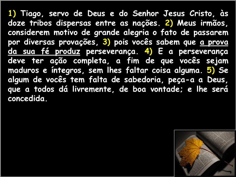 1) Tiago, servo de Deus e do Senhor Jesus Cristo, às doze tribos dispersas entre as nações.
