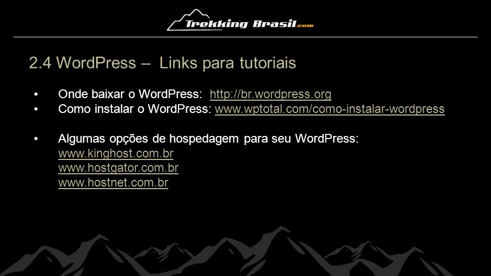 2.4 WordPress – Links para tutoriais