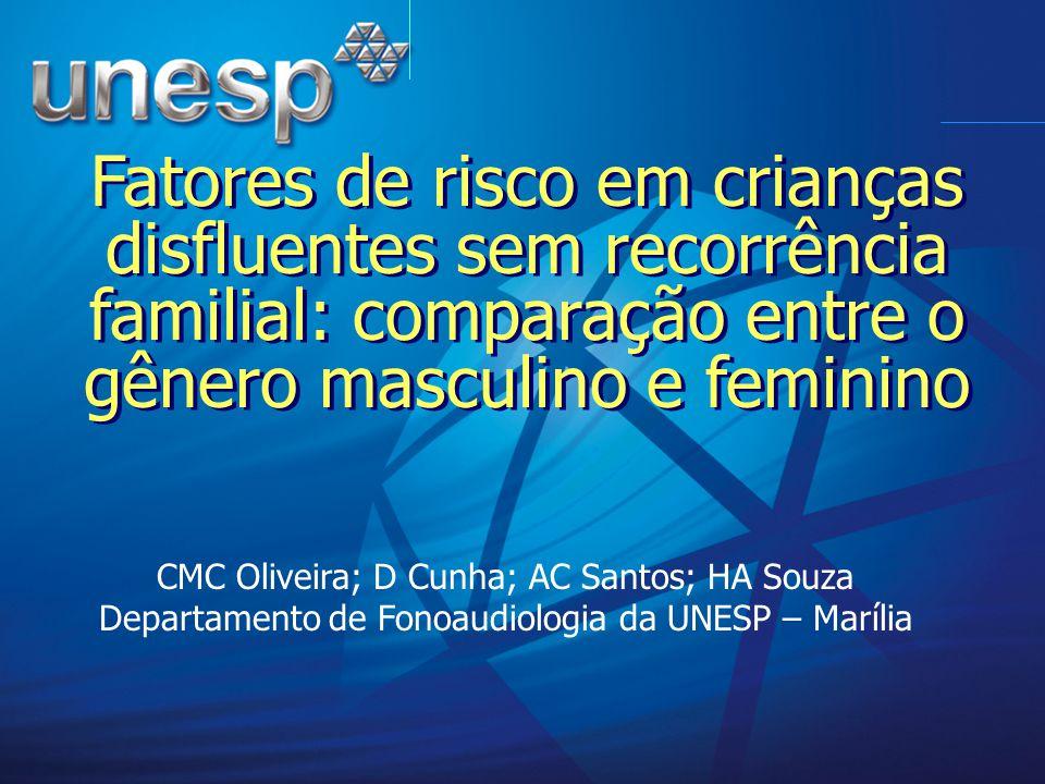 Fatores de risco em crianças disfluentes sem recorrência familial: comparação entre o gênero masculino e feminino