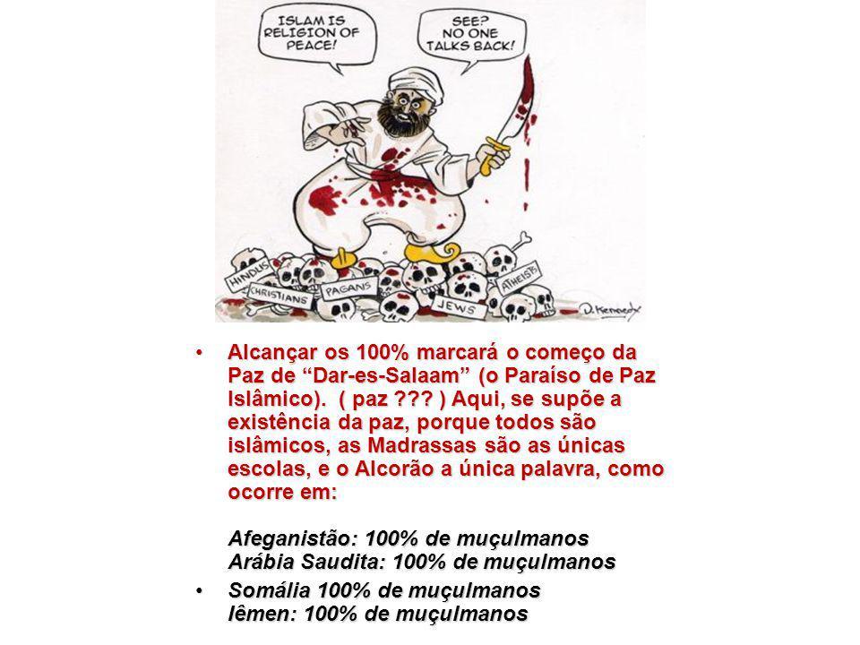 Alcançar os 100% marcará o começo da Paz de Dar-es-Salaam (o Paraíso de Paz Islâmico). ( paz ) Aqui, se supõe a existência da paz, porque todos são islâmicos, as Madrassas são as únicas escolas, e o Alcorão a única palavra, como ocorre em: Afeganistão: 100% de muçulmanos Arábia Saudita: 100% de muçulmanos
