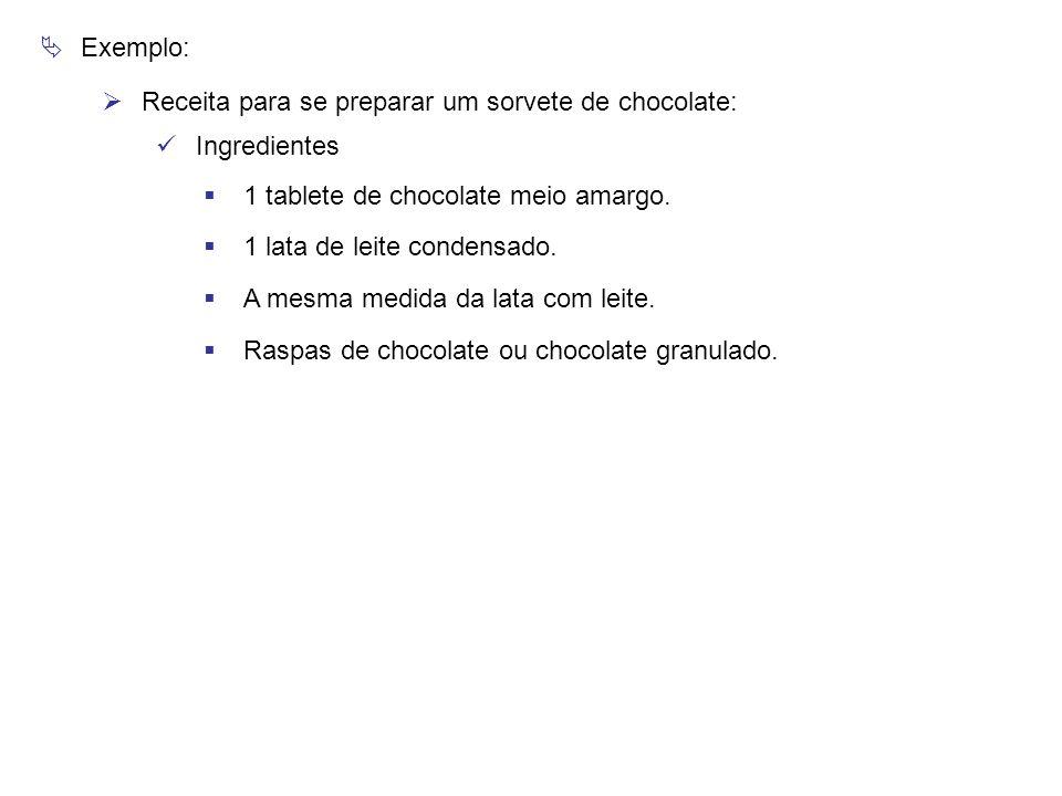 Exemplo: Receita para se preparar um sorvete de chocolate: Ingredientes. 1 tablete de chocolate meio amargo.