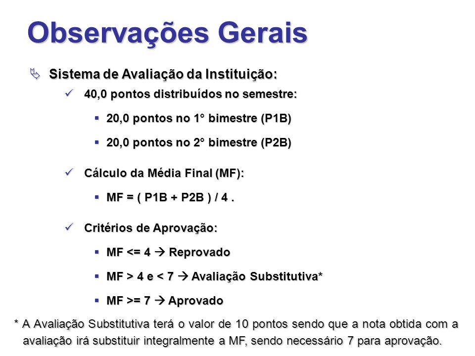 Observações Gerais Sistema de Avaliação da Instituição: