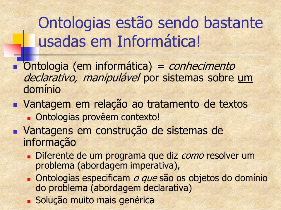 Ontologias estão sendo bastante usadas em Informática!