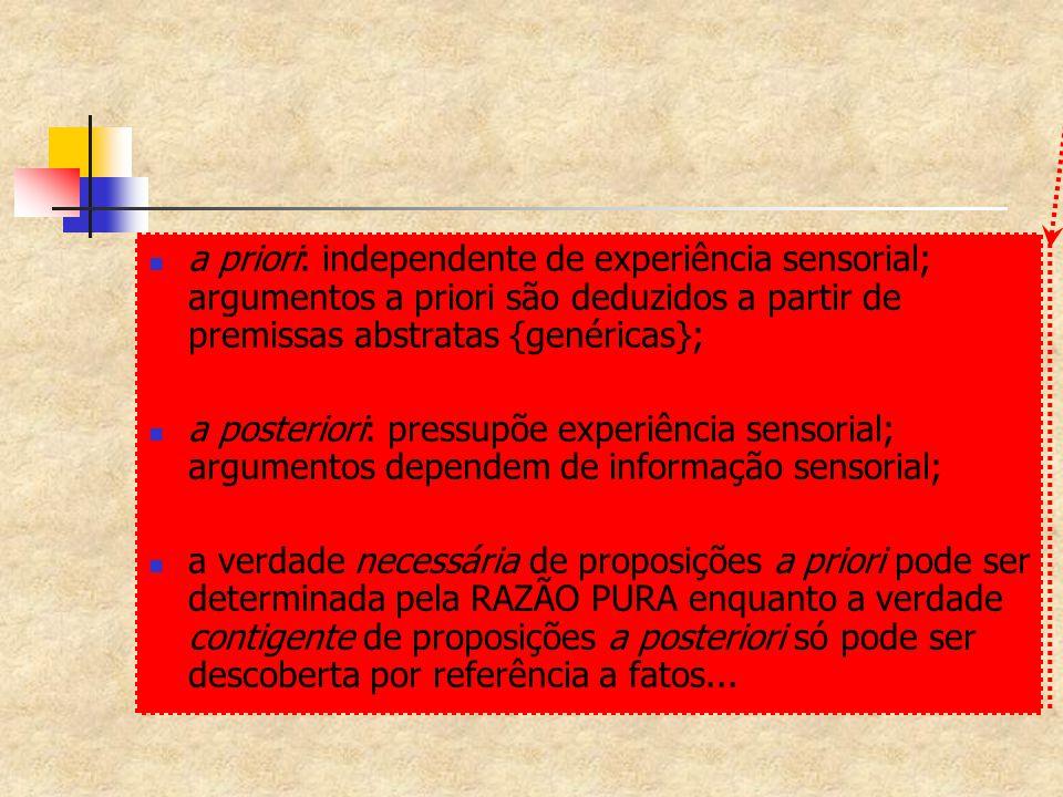 a priori: independente de experiência sensorial; argumentos a priori são deduzidos a partir de premissas abstratas {genéricas};