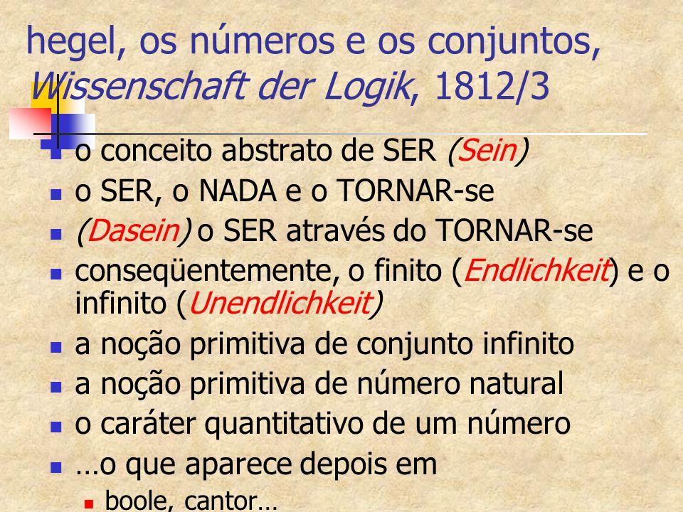 hegel, os números e os conjuntos, Wissenschaft der Logik, 1812/3