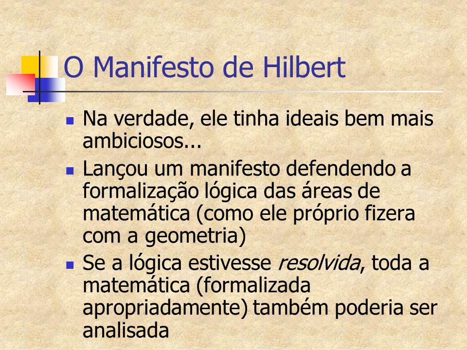 O Manifesto de Hilbert Na verdade, ele tinha ideais bem mais ambiciosos...