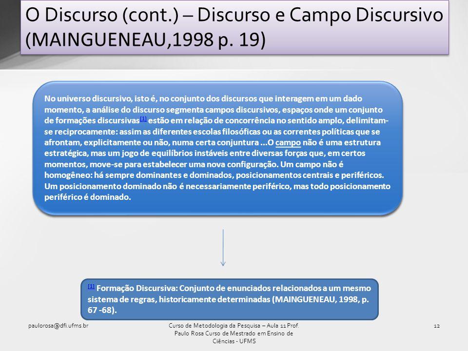 O Discurso (cont. ) – Discurso e Campo Discursivo (MAINGUENEAU,1998 p