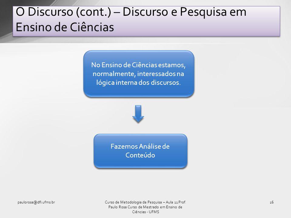 O Discurso (cont.) – Discurso e Pesquisa em Ensino de Ciências