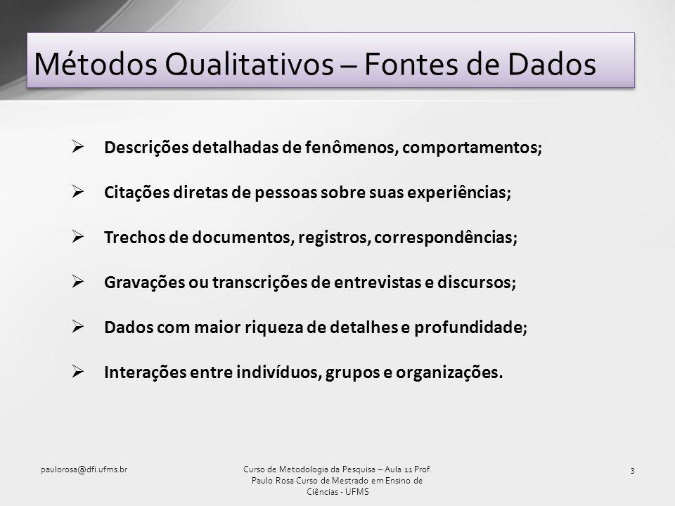 Métodos Qualitativos – Fontes de Dados