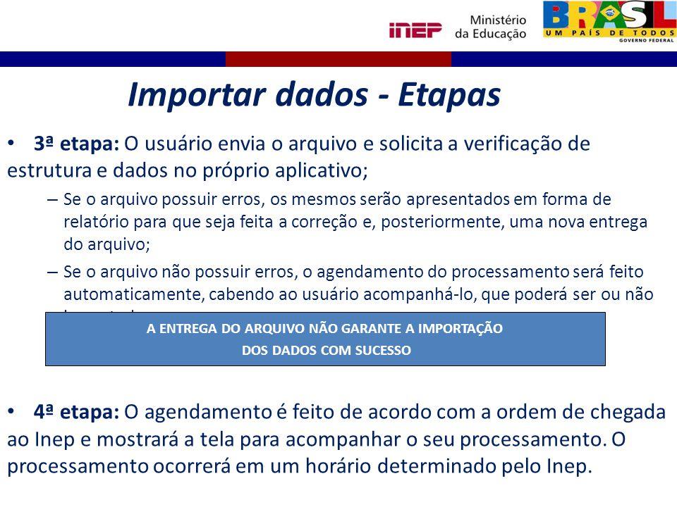 Importar dados - Etapas A ENTREGA DO ARQUIVO NÃO GARANTE A IMPORTAÇÃO