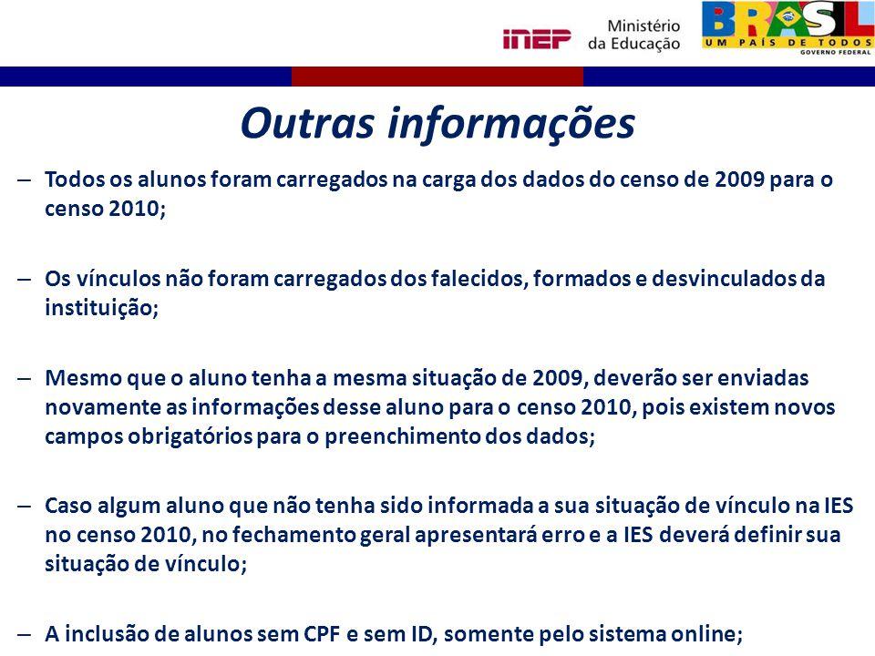 Outras informações Todos os alunos foram carregados na carga dos dados do censo de 2009 para o censo 2010;