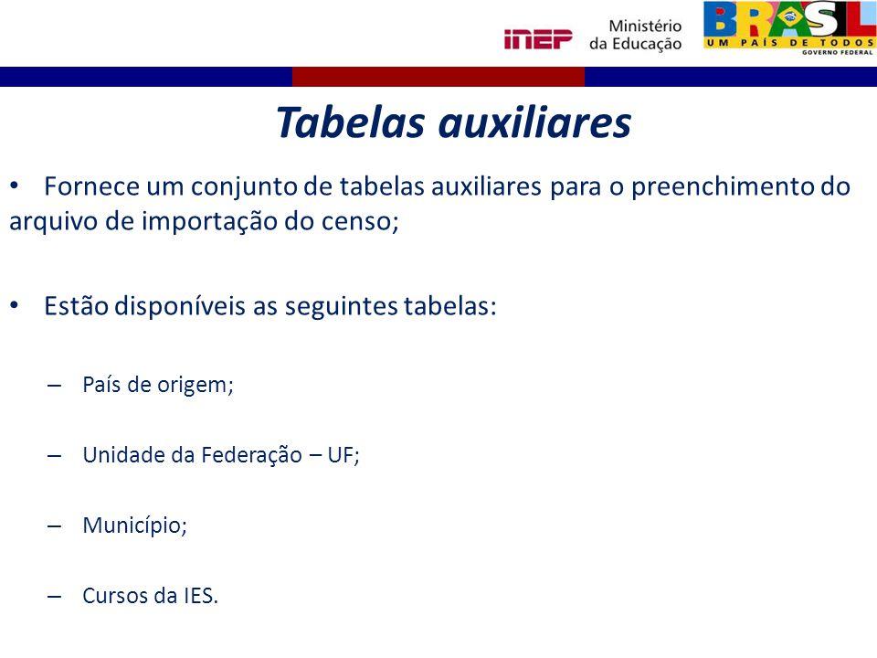 Tabelas auxiliares Fornece um conjunto de tabelas auxiliares para o preenchimento do arquivo de importação do censo;