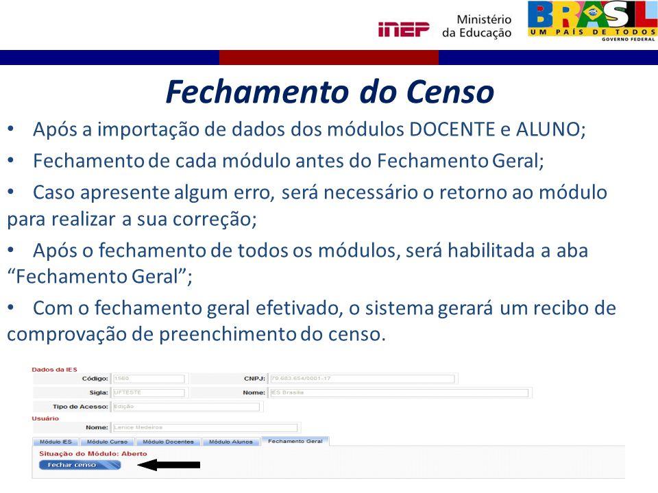 Fechamento do Censo Após a importação de dados dos módulos DOCENTE e ALUNO; Fechamento de cada módulo antes do Fechamento Geral;