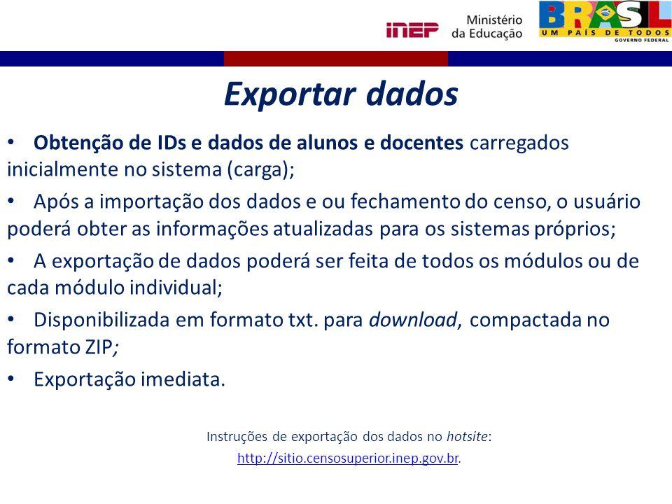 Instruções de exportação dos dados no hotsite: