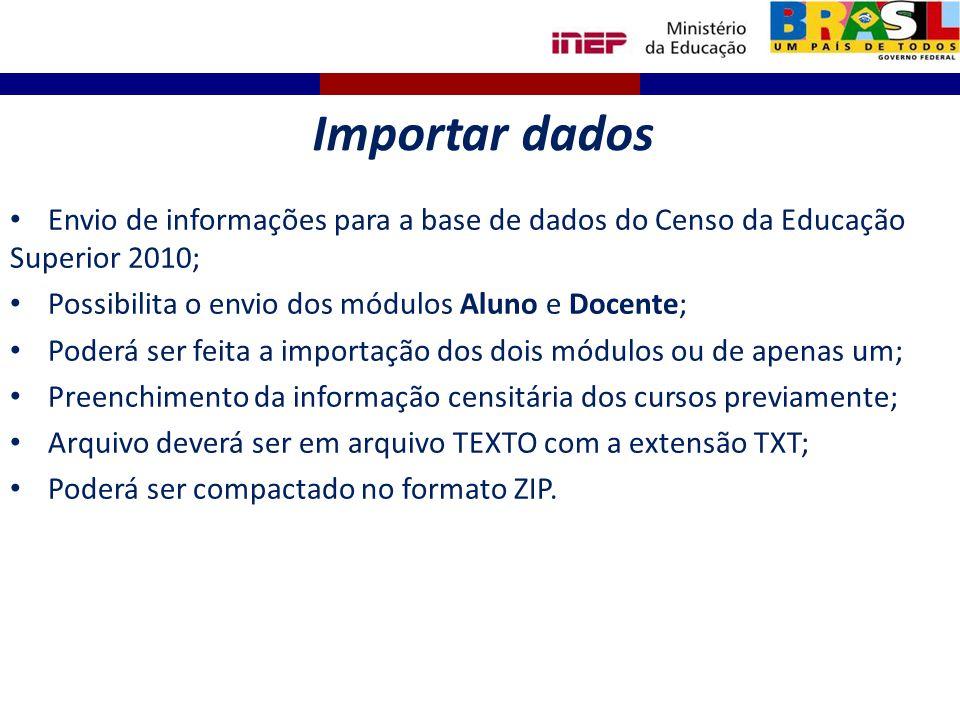 Importar dados Envio de informações para a base de dados do Censo da Educação Superior 2010; Possibilita o envio dos módulos Aluno e Docente;