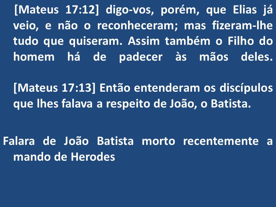 Falara de João Batista morto recentemente a mando de Herodes