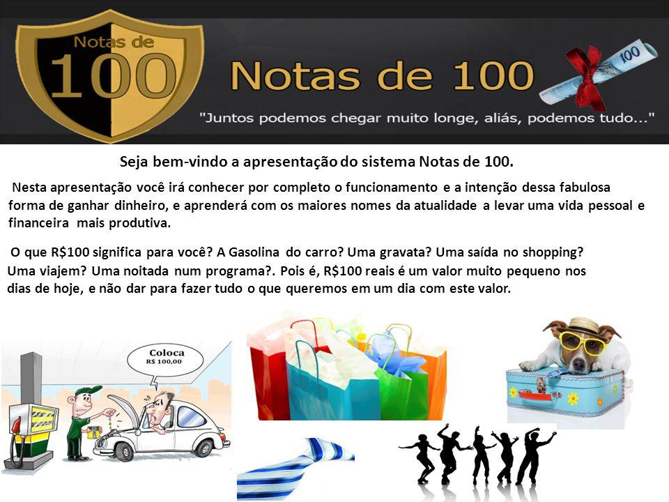 Seja bem-vindo a apresentação do sistema Notas de 100.