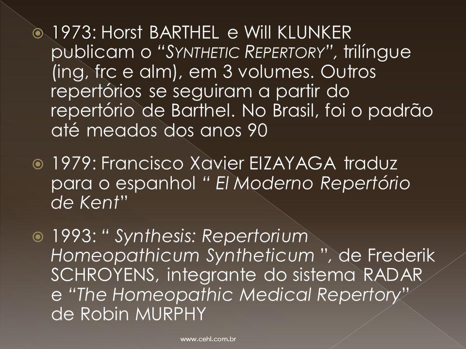 1973: Horst BARTHEL e Will KLUNKER publicam o Synthetic Repertory , trilíngue (ing, frc e alm), em 3 volumes. Outros repertórios se seguiram a partir do repertório de Barthel. No Brasil, foi o padrão até meados dos anos 90