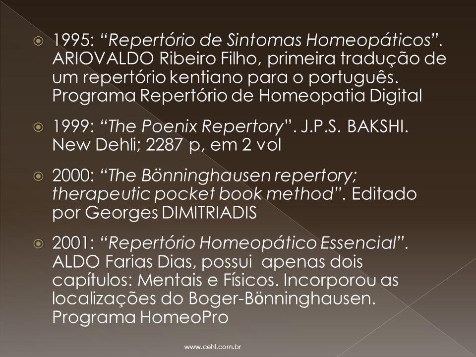 1995: Repertório de Sintomas Homeopáticos