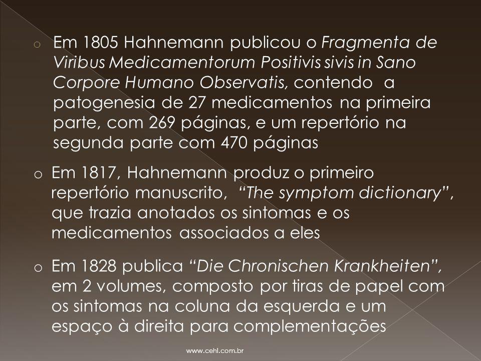 Em 1805 Hahnemann publicou o Fragmenta de Viribus Medicamentorum Positivis sivis in Sano Corpore Humano Observatis, contendo a patogenesia de 27 medicamentos na primeira parte, com 269 páginas, e um repertório na segunda parte com 470 páginas