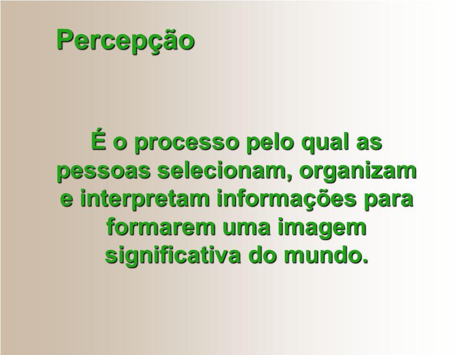 Percepção É o processo pelo qual as pessoas selecionam, organizam e interpretam informações para formarem uma imagem significativa do mundo.