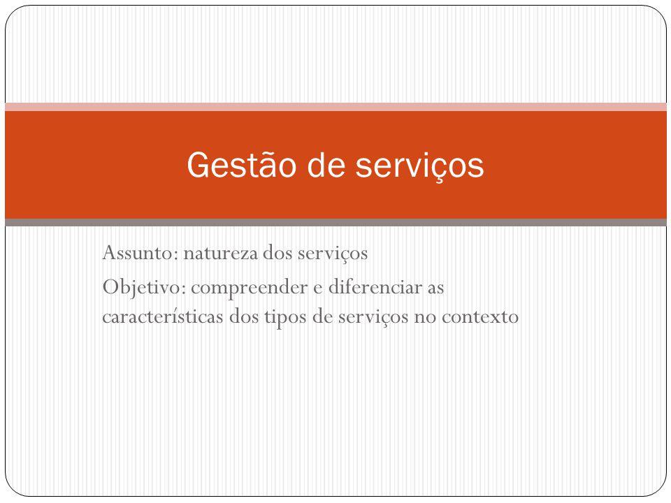 Gestão de serviços Assunto: natureza dos serviços