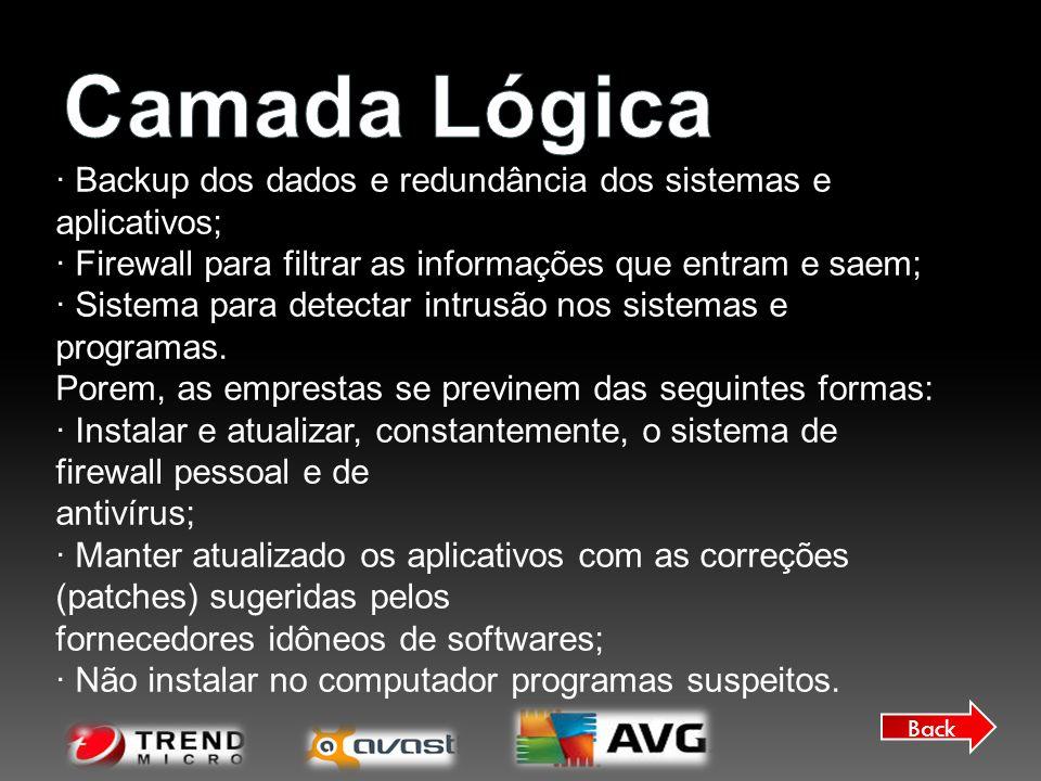Camada Lógica · Backup dos dados e redundância dos sistemas e aplicativos; · Firewall para filtrar as informações que entram e saem;