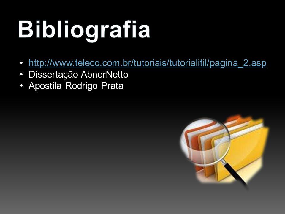 Bibliografia http://www.teleco.com.br/tutoriais/tutorialitil/pagina_2.asp. Dissertação AbnerNetto.