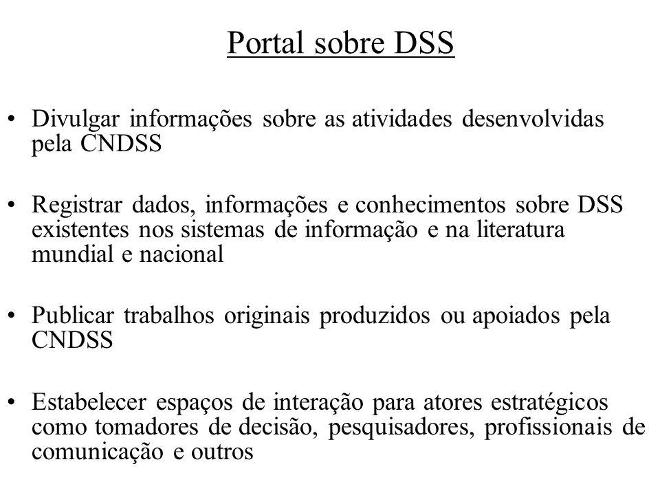 Portal sobre DSS Divulgar informações sobre as atividades desenvolvidas pela CNDSS.