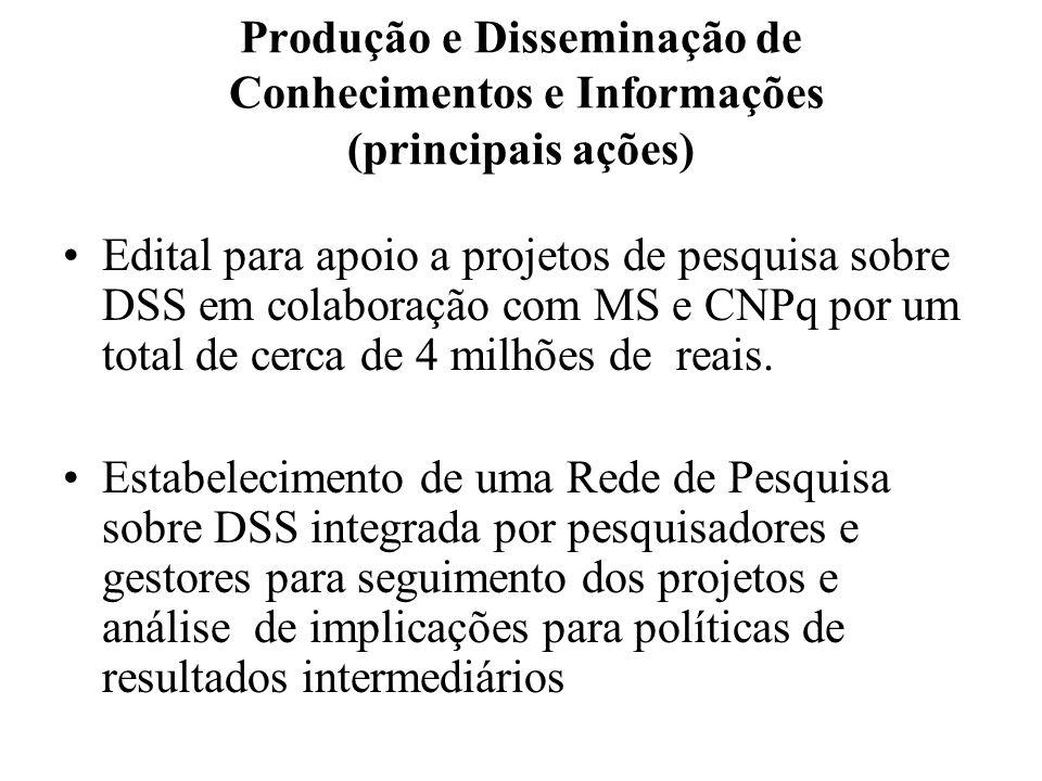 Produção e Disseminação de Conhecimentos e Informações (principais ações)