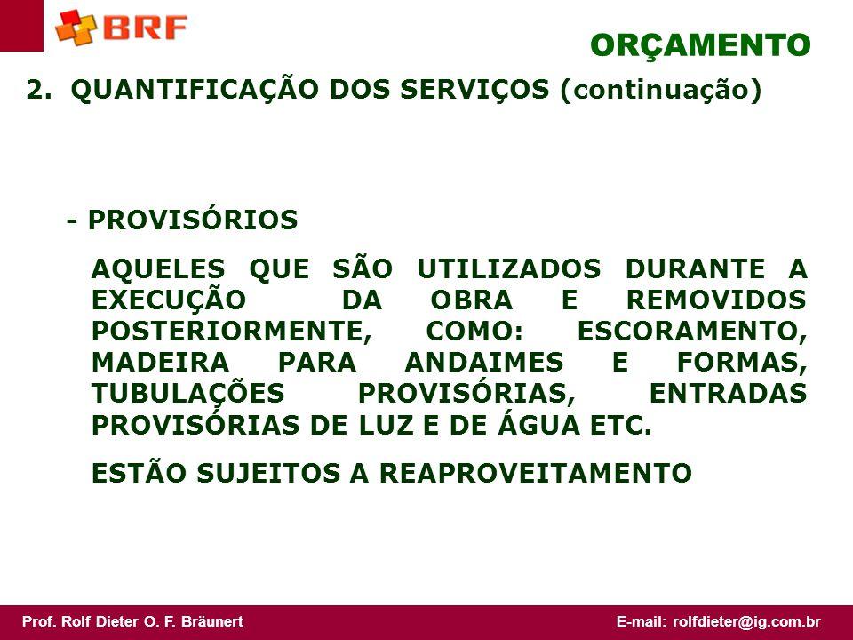 ORÇAMENTO 2. QUANTIFICAÇÃO DOS SERVIÇOS (continuação) - PROVISÓRIOS