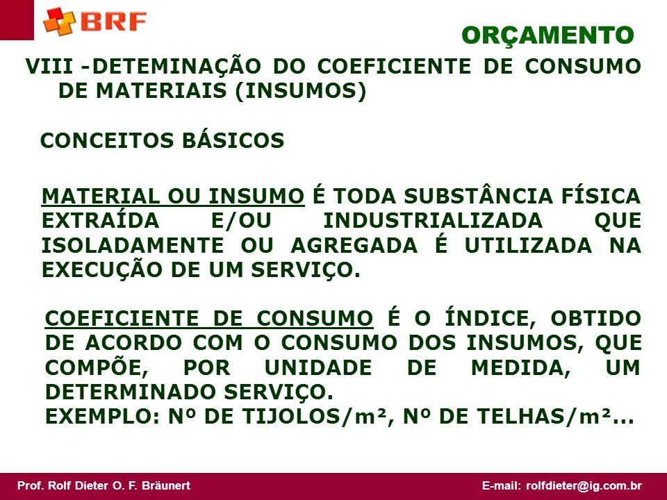 ORÇAMENTO VIII - DETEMINAÇÃO DO COEFICIENTE DE CONSUMO DE MATERIAIS (INSUMOS) CONCEITOS BÁSICOS.