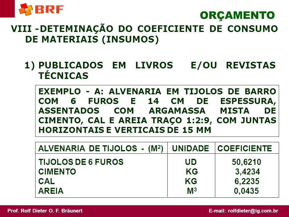 ORÇAMENTO VIII - DETEMINAÇÃO DO COEFICIENTE DE CONSUMO DE MATERIAIS (INSUMOS) 1) PUBLICADOS EM LIVROS E/OU REVISTAS TÉCNICAS.
