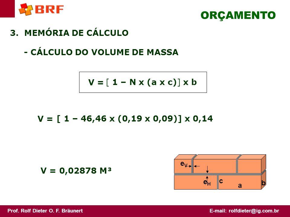 ORÇAMENTO 3. MEMÓRIA DE CÁLCULO - CÁLCULO DO VOLUME DE MASSA V =