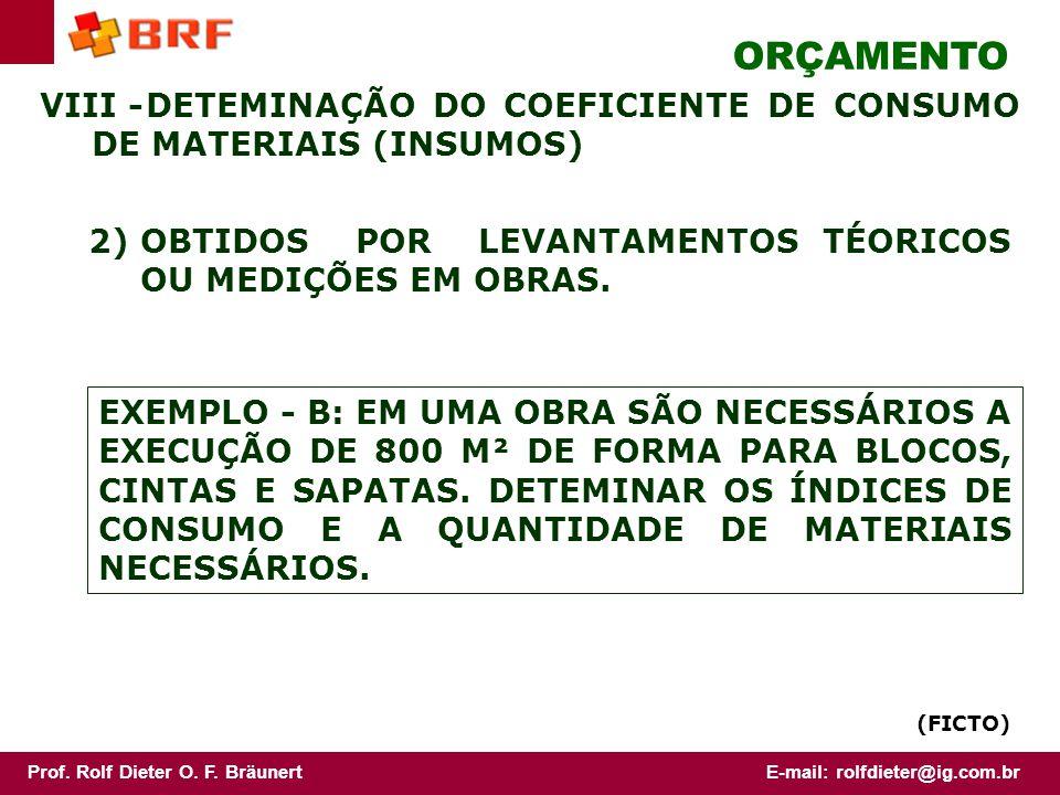 ORÇAMENTO VIII - DETEMINAÇÃO DO COEFICIENTE DE CONSUMO DE MATERIAIS (INSUMOS) 2) OBTIDOS POR LEVANTAMENTOS TÉORICOS OU MEDIÇÕES EM OBRAS.