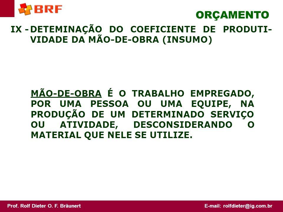 ORÇAMENTO IX - DETEMINAÇÃO DO COEFICIENTE DE PRODUTI-VIDADE DA MÃO-DE-OBRA (INSUMO)