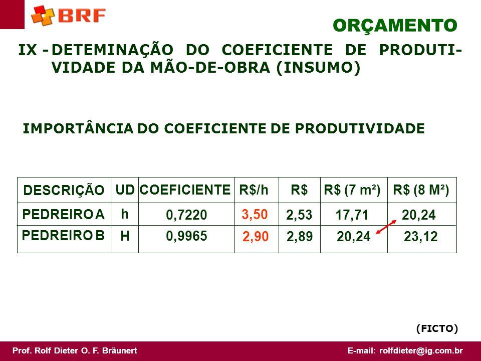 ORÇAMENTO IX - DETEMINAÇÃO DO COEFICIENTE DE PRODUTI-VIDADE DA MÃO-DE-OBRA (INSUMO) IMPORTÂNCIA DO COEFICIENTE DE PRODUTIVIDADE.